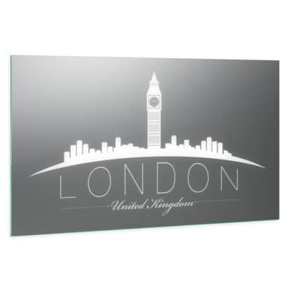 London Skyline: LED Wandspiegel mit Skyline Motiv