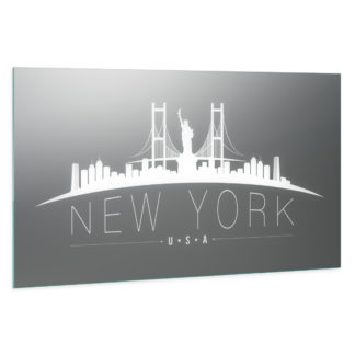 New York Skyline: LED Wandspiegel mit Skyline Motiv